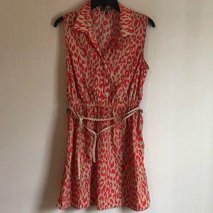 BeBop - Cheetah Print Orange Collar Dress - Size M